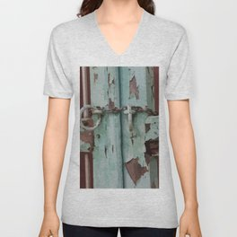 Closed Door Illustration with Chain Unisex V-Neck