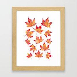 Maple leaves white Framed Art Print