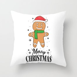 Christmas Gingerbread With Santa Hat Dabbing Gingerbread Throw Pillow