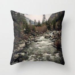 Winter Begins - River Mountain Nature Photography Throw Pillow