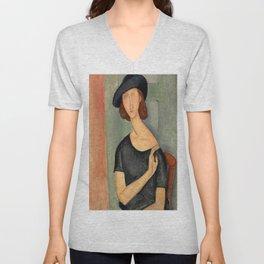 "Amedeo Modigliani ""Jeanne Hébuterne (Au chapeau)"" Unisex V-Neck"