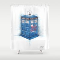 bad wolf Shower Curtains featuring Bad Wolf by ReadThisVA