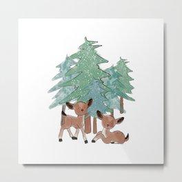 Little Deers In A Winter Landscape Metal Print