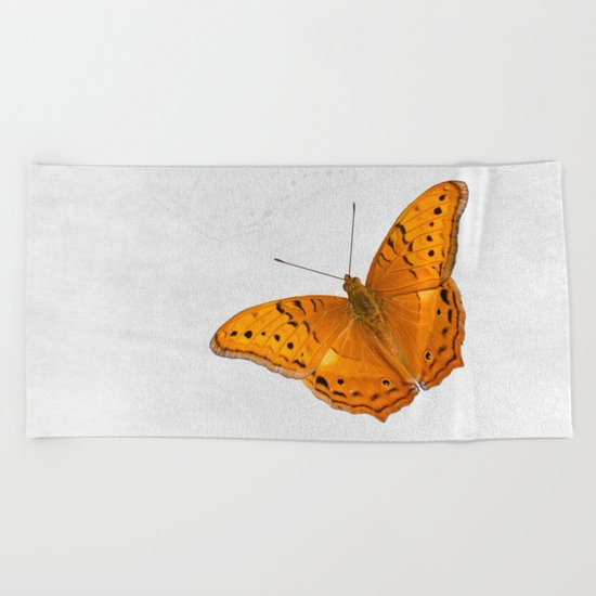Butterfly and ghost on textured white Beach Towel