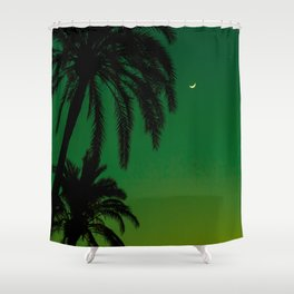 Tropical Palm Tree Silhouette Green Ombre Sunset Crescent Moon At Night Shower Curtain