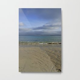 Patterns in the Sand with Blue Skies Above Metal Print