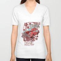 cuba V-neck T-shirts featuring Cuba Libre by Tshirt-Factory