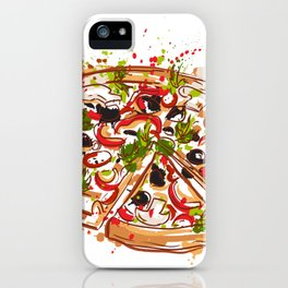 Italian pizza with splashes in watercolor style iPhone Case