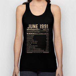 JUNE 1991 birthday t-shirts Unisex Tank Top