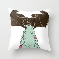 chuck Throw Pillows featuring Chuck by Noponies