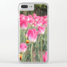 A Field Of Pink Tulips Clear iPhone Case