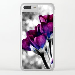 Magenta Blue Flowers Pop of Color Clear iPhone Case