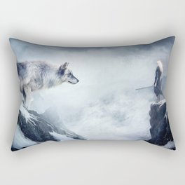 The wolf and the moon Rectangular Pillow