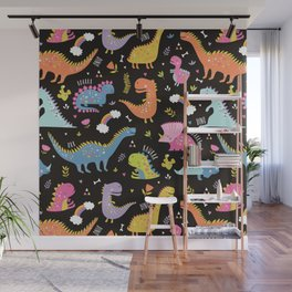 Dinosaurs Black Background Wall Mural