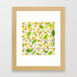 Fruits and leaves pattern (22) Framed Art Print