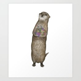 Otter and Flowers Art Print
