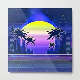 Miami Throwback Sunset Metal Print