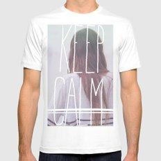 Wander (Keep Calm) White Mens Fitted Tee MEDIUM