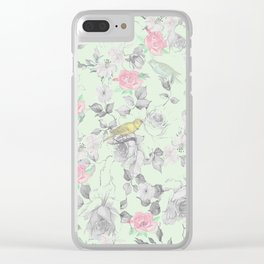 Vintage Pink White Mint Green Bird Floral Collage Clear iPhone Case