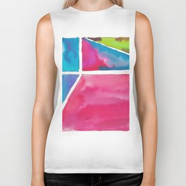 180811 Watercolor Block Swatches 12| Colorful Abstract |Geometrical Art Biker Tank