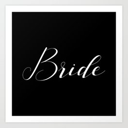 Bride - White on Black Art Print