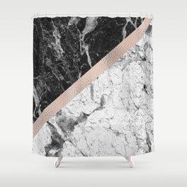 Monochrome marble designer - rose gold Shower Curtain