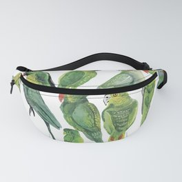 Time for 12 green parrots Fanny Pack