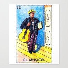 El Musico Mexican Loteria Bingo Card Canvas Print