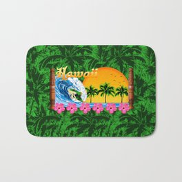Hawaiian Surfing And Palm Trees Bath Mat