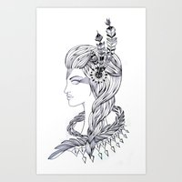 woman with feathers Art Print