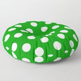 Islamic green - green - White Polka Dots - Pois Pattern Floor Pillow