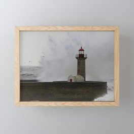 Lighthouse facing Ocean Waves Photography, in Porto city, Portugal Framed Mini Art Print