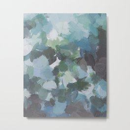 Mint Aqua Navy Indigo Sage Lime Green Abstract Nature Painting, Modern Wall Art Print, Leaves Sky Metal Print