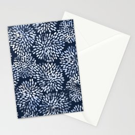 Abstract Navy Watercolor Line Flowers Stationery Cards