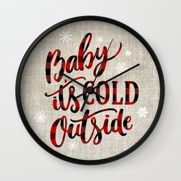 Baby It's Cold Red Buffalo Plaid Wall Clock