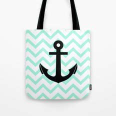 Pastel Mint Tiffany Turquoise, Chevron Anchor Tote Bag
