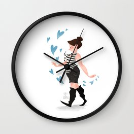 Trailing Hearts  (Blue) Wall Clock