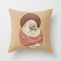 carl sagan Throw Pillows featuring Saint Carl by Grace Chomick