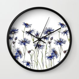 Blue Cornflowers, Illustration Wall Clock