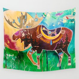 Fantastic Moose - Animal - by LiliFlore Wall Tapestry