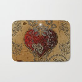 Steampunk, awesome heart Bath Mat