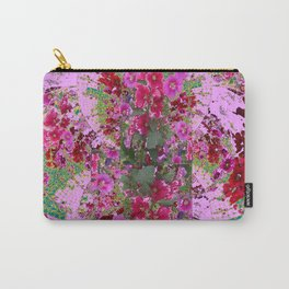 PINK HOLLYHOCK FLOWERS TEAL ABSTRACT GARDEN Carry-All Pouch