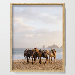 Horses on the beach Serving Tray