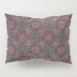 Vintage abstract burgundy green geometrical pattern Pillow Sham