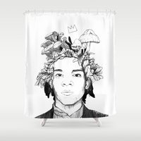 basquiat Shower Curtains featuring Basquiat by offthefaceoftheearth