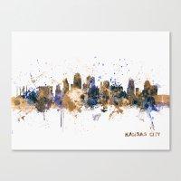 kansas city Canvas Prints featuring Kansas City Skyline by artPause