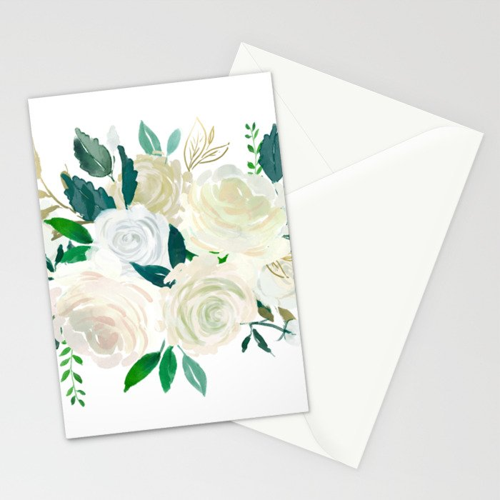White Roses With Leafs Bouquet Stationery Cards