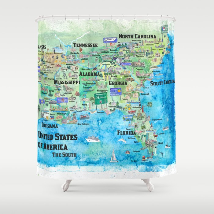 Map Of Florida Georgia.Usa Southern States Travel Poster Map Florida Louisiana Mississippi