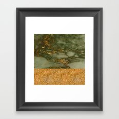 Green Marble with Gold and Glitter Framed Art Print
