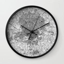 Raleigh North Carolina Map (1990) BW Wall Clock